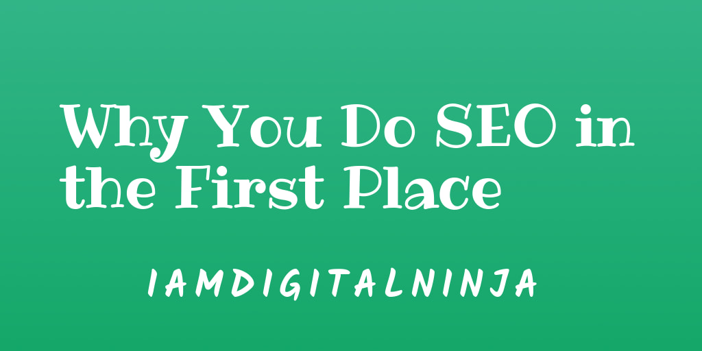 Why You Do SEO in the First Place